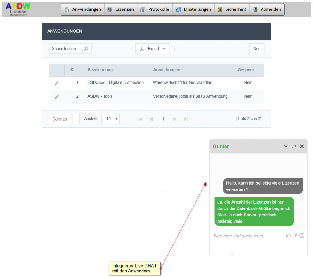 asdw_tawk_to Live Chat Modul im License-Manager