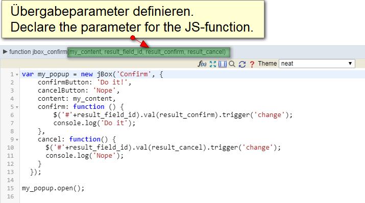 Definiere die Übergabeparameter der Funktion